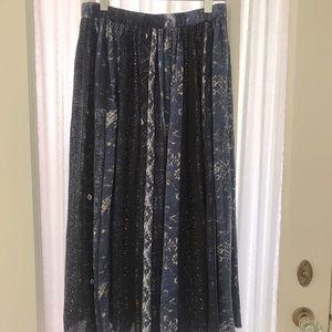 Vintage Blue Pleated Midi Skirt